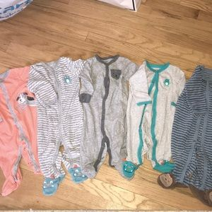 5 X Footed Onsies! Excellent Condition (Size 6M)